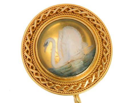 Victorian Essex Crystal Swan Stickpin