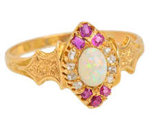 Victorian Ruby Opal Diamond Ring