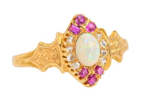 Victorian Ruby Opal Diamond Ring