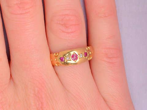 Edwardian English Ruby Diamond 18k Ring