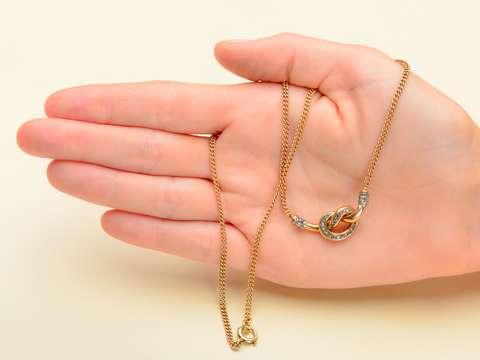 Vintage Diamond Gold Knot Necklace