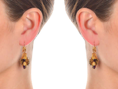 Earth & Sea - Victorian Almandine Garnet Earrings