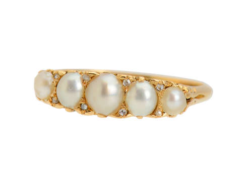 Edwardian Antique Natural Saltwater Pearl Diamond Ring