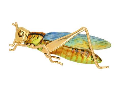 Antique Sloan & Co. Enamel Grasshopper Brooch