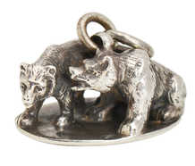 Antique Two Bears Silver Fob Pendant Seal