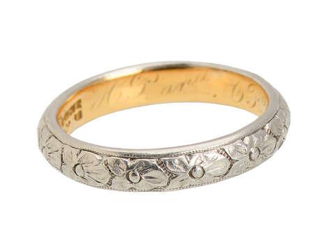 Platinum & Gold Orange Blossom Wedding Ring of 1899
