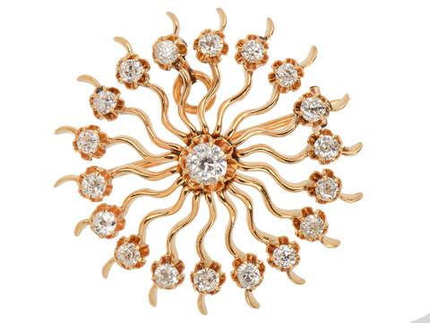 Diamond Starburst Pendant Brooch