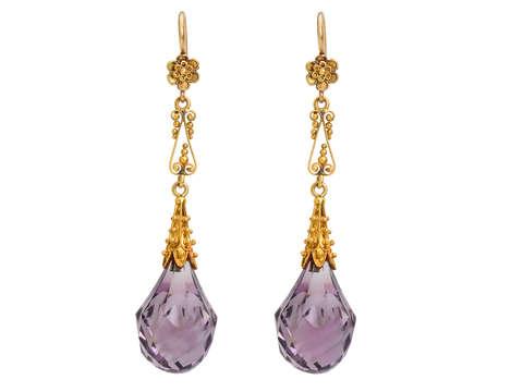Antique Amethyst Gold Briolette Earrings