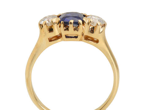 Vintage Three Stone Sapphire Diamond Ring