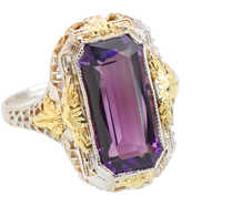 Art Deco Amethyst Two Tone Filigree Ring