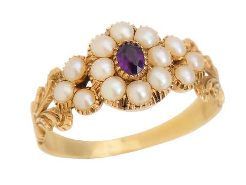 Georgian Natural Pearl Amethyst Ring