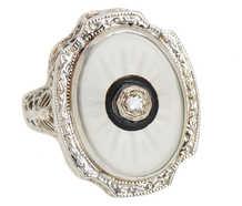 Butterfly Motif Rock Crystal Art Deco Ring