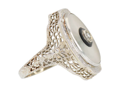 Butterfly Motif Rock Crystal Art Deco Ring