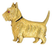 Vintage Sloan & Co. Gold Scottie Dog Brooch