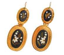 Victorian Pietra Dura Flower Earrings