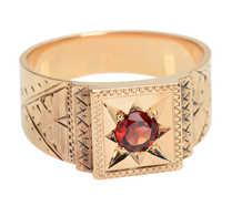 Wide Victorian Gypsy Set Garnet Ring