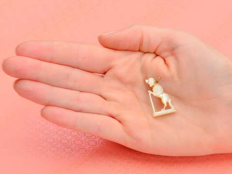 Mother of Pearl Poodle Dog Pendant