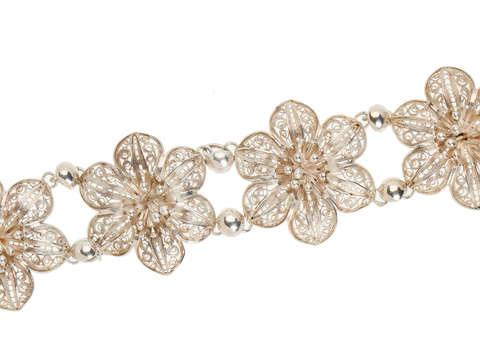 Vintage Silver Filigree Flower Bracelet
