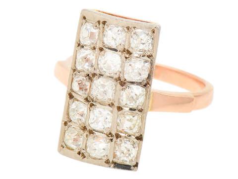 Russian Old Cushion Cut Diamond Rectangular Ring
