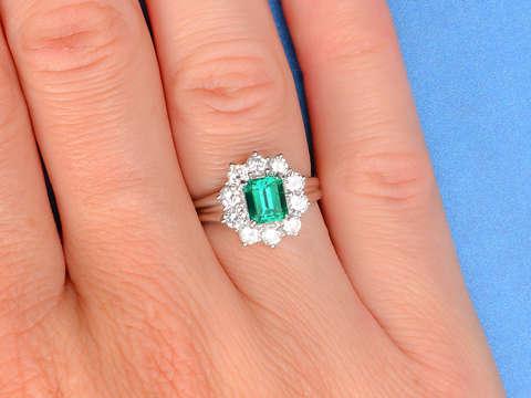Emerald Extravaganza Diamond Halo Ring