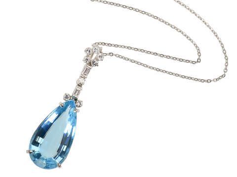 Tranquility - Vintage Aquamarine Diamond Pendant