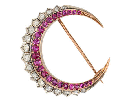 Victorian Ruby Diamond Crescent Moon Brooch