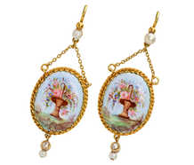 Hand Painted French Enamel Pearl Earrings
