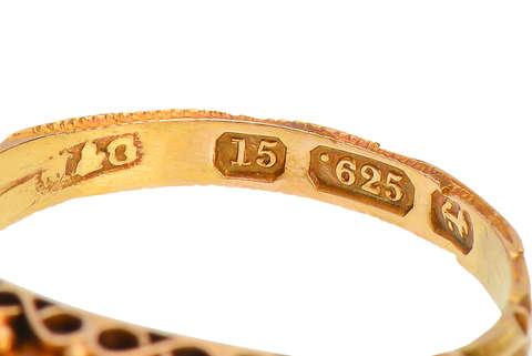 Victorian Chrysoberyl Ring of 15k Gold