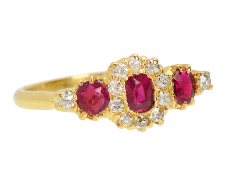 Antique Ruby Triple Cluster Ring of 1903