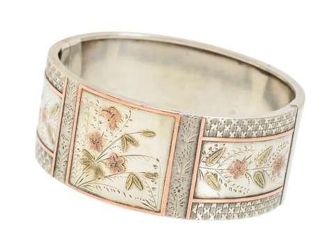 Garden of Delights - Victorian Silver Bangle Bracelet