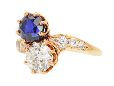 Victorian Moi et Toi Sapphire Diamond Ring