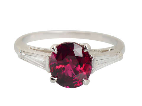 Unforgettable - Vintage Ruby Diamond Three Stone Ring