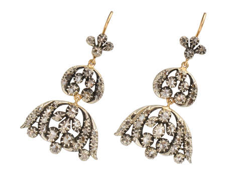 Georgian Diamond Chandelier Dangle Earrings