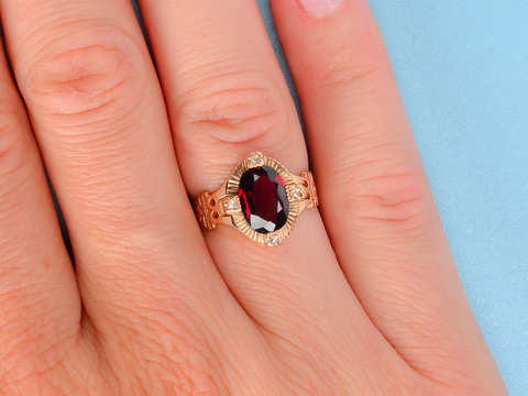 Rhodolite Garnet Diamond Ring 14k
