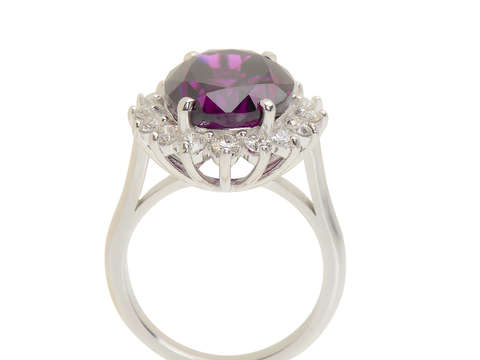 Divine Purple Garnet Diamond Ring