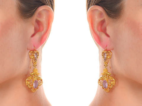 Georgian Fine Pink Topaz Earrings