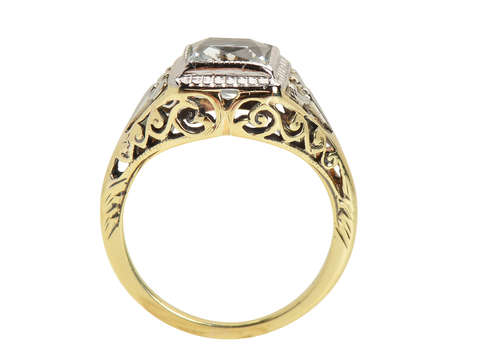 Vintage Aquamarine Art Deco Ring - Two Color Gold