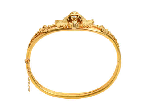 Art Nouveau Gold Lion Themed Bangle