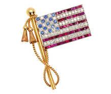 Fine Diamond Ruby Sapphire American Flag Brooch