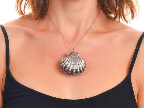Large Vintage Scalloped Shell Locket Pendant