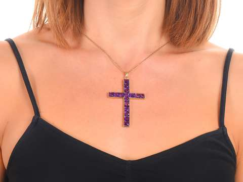 Faith - Fine Amethyst 14k Gold Large Cross
