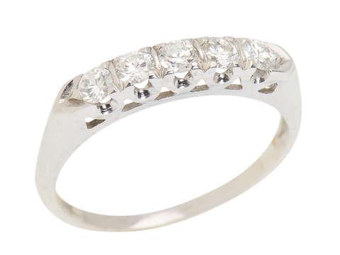 Five Diamond Half Eternity Wedding Band