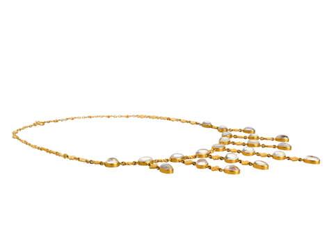 Art Nouveau Blue Moonstone Fringe Necklace