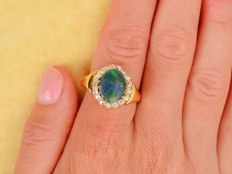 Antique Fine Australian Black Opal 18k Gold Ring