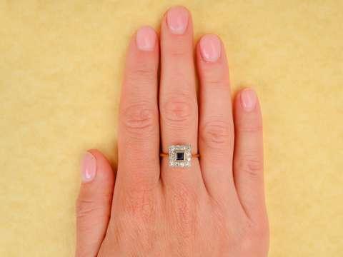 Art Deco Sapphire Diamond Halo Ring