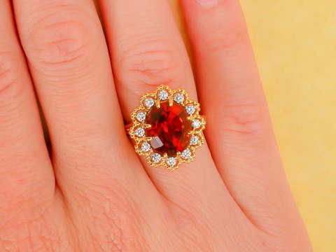 Jabel Madeira Citrine Diamond Halo Vintage Ring