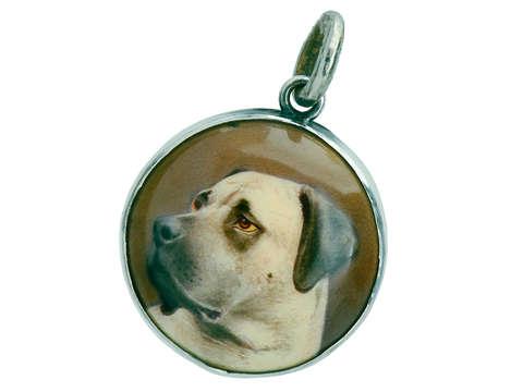 Hand Painted Enamel Mastiff Dog Portrait Pendant