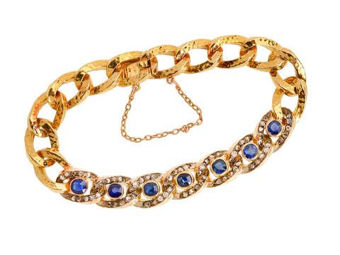 Antique French Sapphire Diamond 18k Bracelet