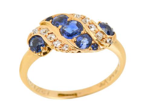 Sapphire Swirl - Edwardian Ring Dated 1903