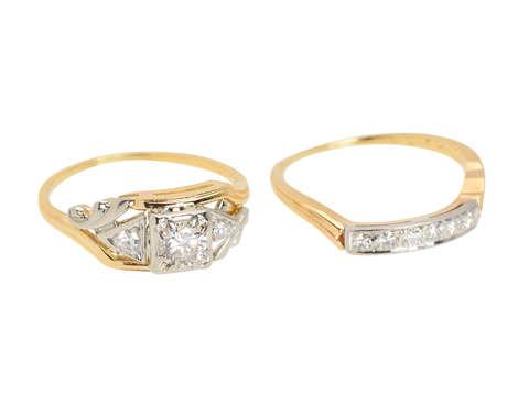 Synchronicity - Vintage Diamond Wedding Ring Set